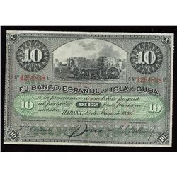 Spain Bank of the Island of Cuba 10 Pesos, 1896