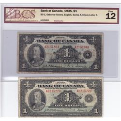 Bank of Canada $1, 1935 (2)