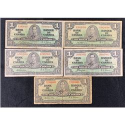 Bank of Canada $1, 1937 - Collection of 5 Notes