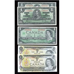 Bank of Canada $1 Collection of 6 Notes