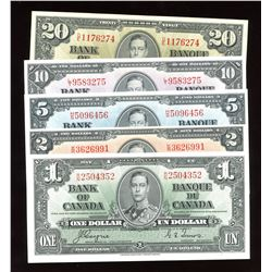 Bank of Canada $1 - $20, 1937 - Set of 5 Banknotes
