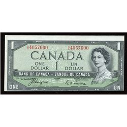 Bank of Canada $1, 1954 Devil's Face Off-Cut Error