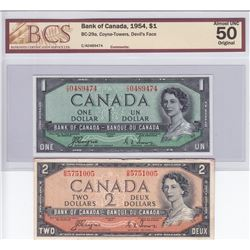 Bank of Canada $1 & $2, 1954. Devil's Face