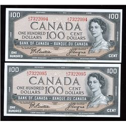 Bank of Canada $100, 1954 - Lot of 2 Consecutive Serial #'s