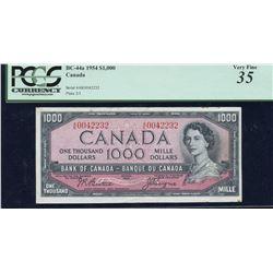 Bank of Canada $1000, 1954 Transitional Prefix