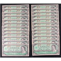 Bank of Canada $1, 1967 - Lot of 24
