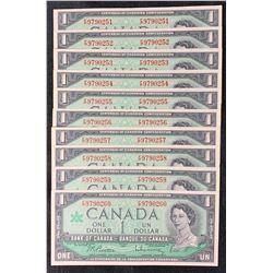 Bank of Canada $1, 1967 - Lot of 10 Consecutive Notes