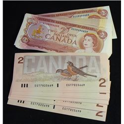 Bank of Canada $2, 1974 & 1986; 56 Banknote Lot