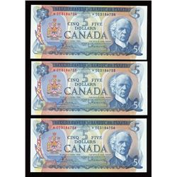 Bank of Canada $5, 1972 - Lot of 3 Consecutive Replacement Notes