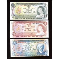 Bank of Canada $1, $2, $5 Replacement Set of 3 Banknotes