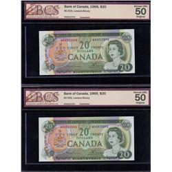Bank of Canada $20, 1969 - Lot of 2 Consecutive Graded Notes