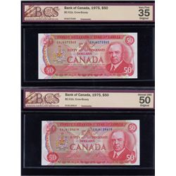 Bank of Canada $50, 1975 - Lot of 2 Graded Notes