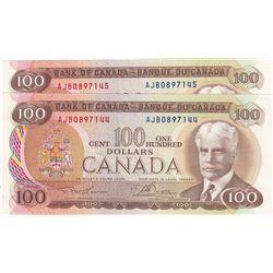 Bank of Canada $100 1975. Consecutive Pair