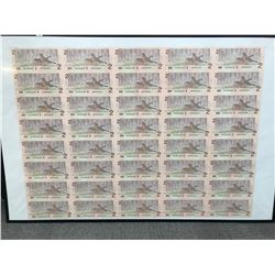 Bank of Canada $2 Uncut Replacement Sheet of 40 Notes