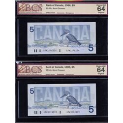 Bank of Canada $5, 1986 - Lot of 2 Consecutive Changeover Notes
