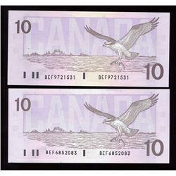 Bank of Canada $10, 1989 - Lot of 2 Transitional Prefix Set