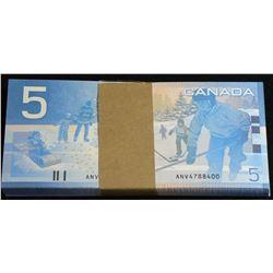 Bank of Canada $5, 2002, First Prefix ANV Bundle