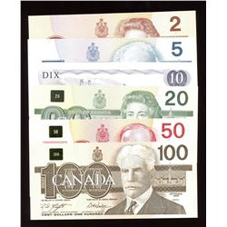 Bank of Canada Bird Series $2 - $100 Banknote Set