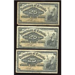 1900 Dominion of Canada Twenty-Five Cents - Lot of 3
