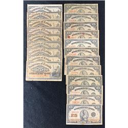 Dominion Twenty-Five Cents - Lot of 21 Notes