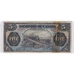 """Dominion of Canada, $5, 1912 """"Train"""""""