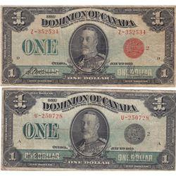 Dominion of Canada $1, 1923 (2) lot