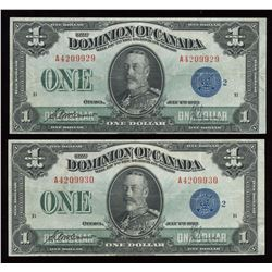 Dominion of Canada $1, 1923 Consecutive Pair
