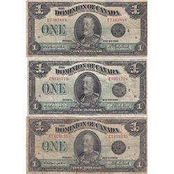 Dominion of Canada $1, 1923 (3) lot