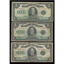 Dominion of Canada $1, 1923 - Lot of 3 Notes