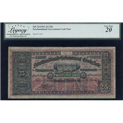 1913-14 Newfoundland Government 25 Cents Cash Note
