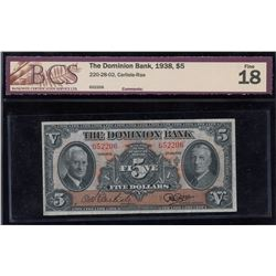 Dominion Bank $5, 1938