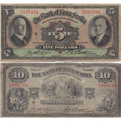Bank of Nova Scotia $5 & $10, 1935 (2)