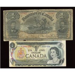 1898 Dominion of Canada & 1973 Bank of Canada $1 - Lot of 2