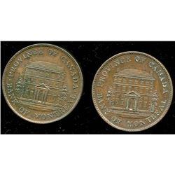 Br. 527.  Pair of 1844 BMO half pennies.