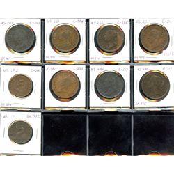 Group of 9 pre-confederation pieces.