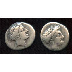 EUBOIA, Chalkis. 340-294 BC. AR Drachm. Lot of 2