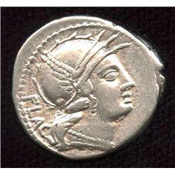 Roman Republic -  L. Rutilius Flaccus. 77 BC. AR Denarius