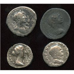 Roman Imperial - Various AR Denarius. Lot of 4