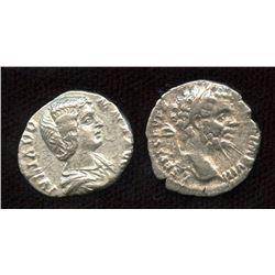Roman Imperial - Septimius Severus (193-211 AD) & wife Julia Domna. AR Denarius. Lot of 2