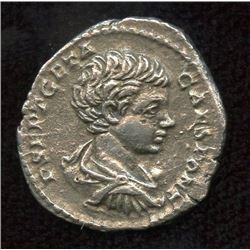 Roman Imperial - Geta, as Caesar. 198-209 AD. AR Denarius
