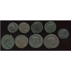 Roman Imperial - Tetrarchy Group. Lot of 9