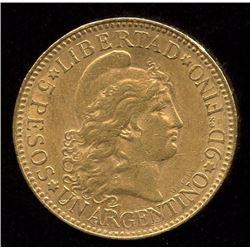 Argentina 5 Pesos Gold , 1888