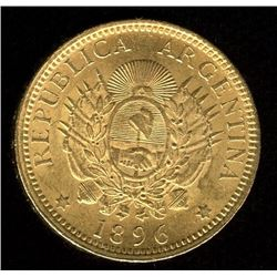 Argentina 5 Pesos Gold , 1896