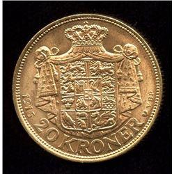 Denmark 20 Kroner Gold Coin, 1916