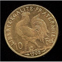 France 10 Francs Gold Coin, 1908