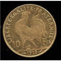 France 10 Francs Gold Coin, 1910