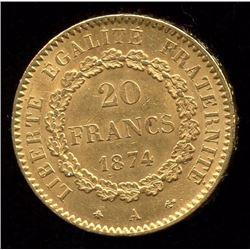 France 20 Francs Gold Coin, 1874A