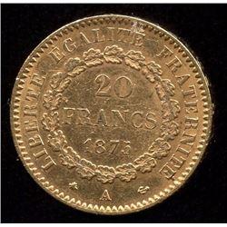 France 20 Francs Gold Coin, 1875A