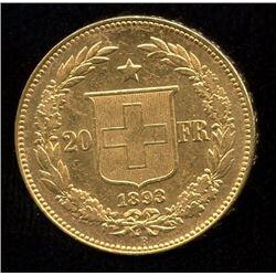 Switzerland 20 Francs Gold Coin, 1893B