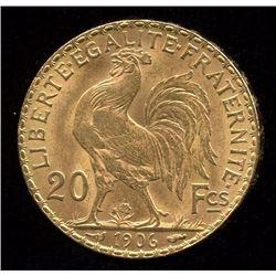 France 20 Francs Gold Coin, 1906